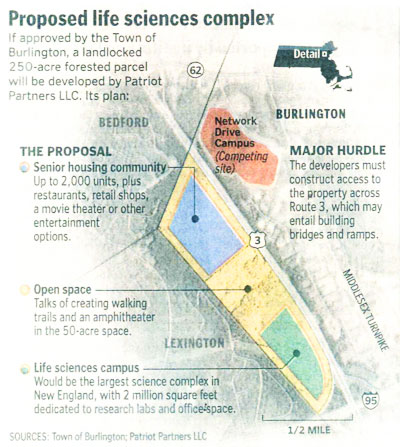 Boston Globe map of proposal by Patriot Partners